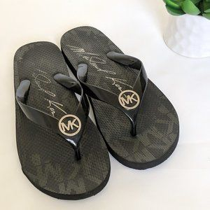 MICHAEL KORS Flip Flops Black Thong Sandals Silver